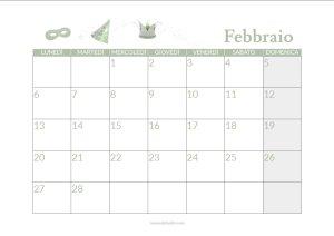 calendario febbraio stampabile