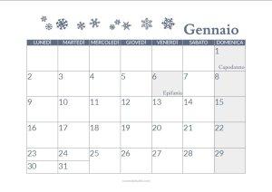 calendario gennaio stampabile