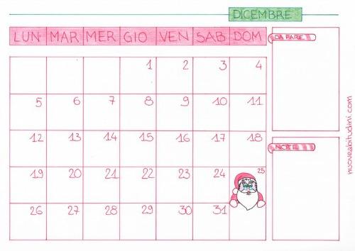 calendario dicembre stampabile