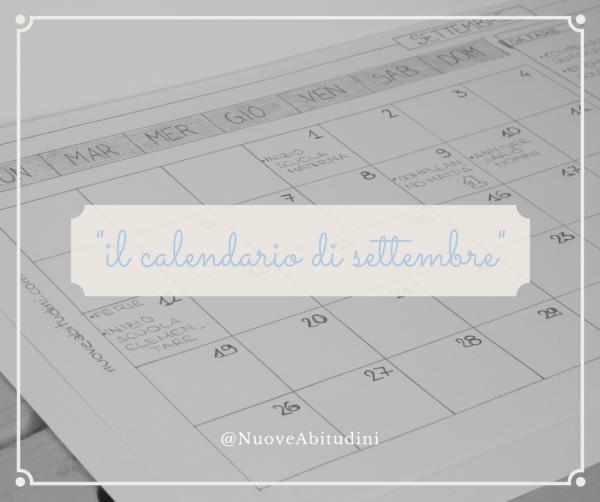 calendario settembre stampabile