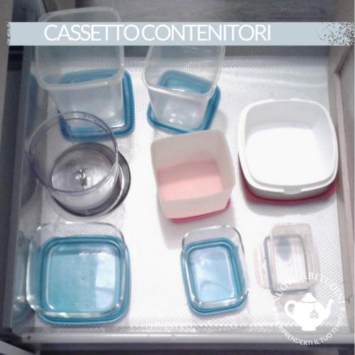 organizzare cassetto contenitori per alimenti cucina