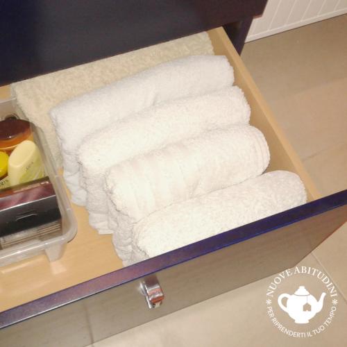organizzazione asciugamani bagno