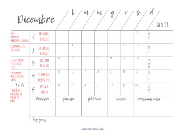 agenda mensile