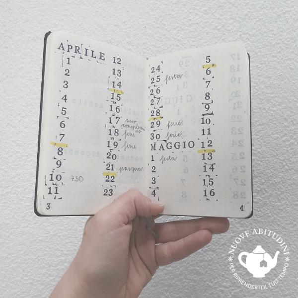 calendario mensile bullet journal