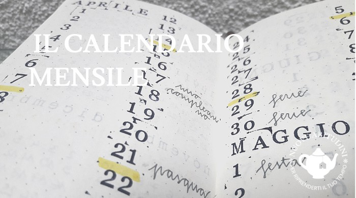 calendario mensile bullet journal